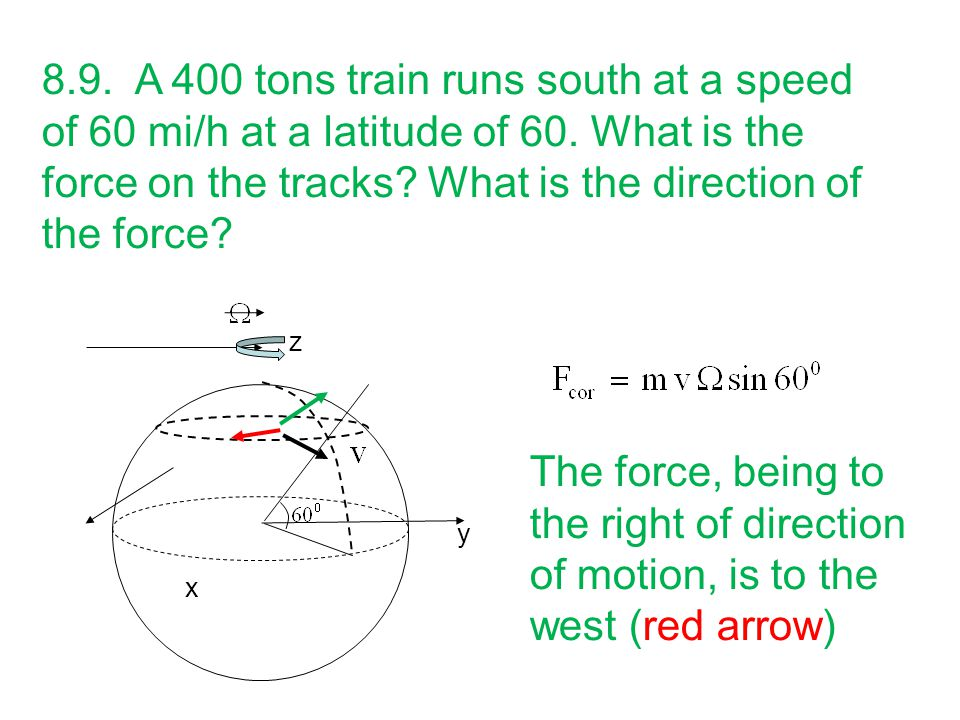 8.9. A 400 tons train runs south at a speed of 60 mi/h at a latitude of 60. What is the force on the tracks What is the direction of the force
