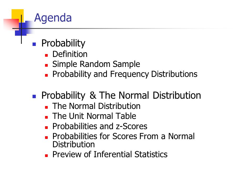 Agenda Probability Probability & The Normal Distribution Definition