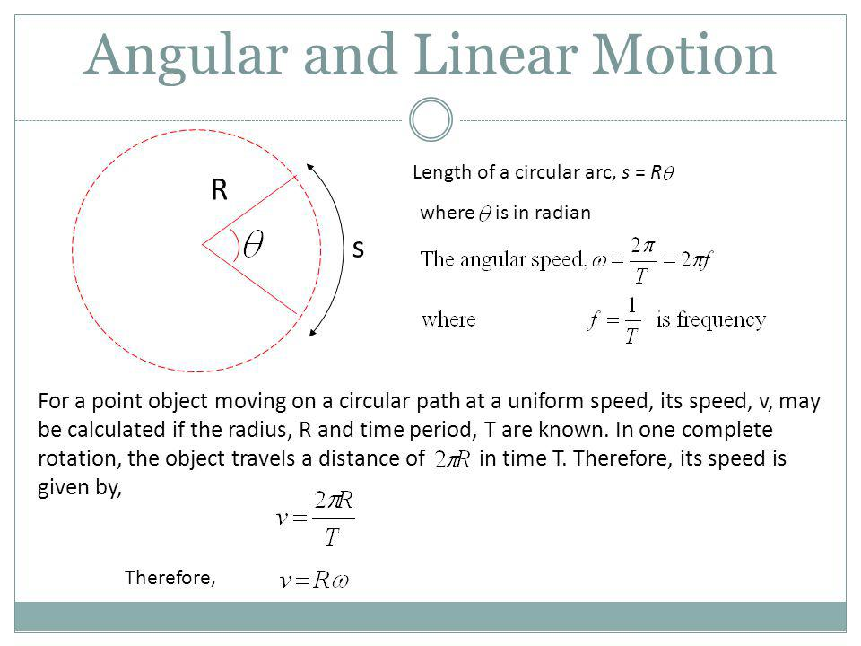 Angular and Linear Motion