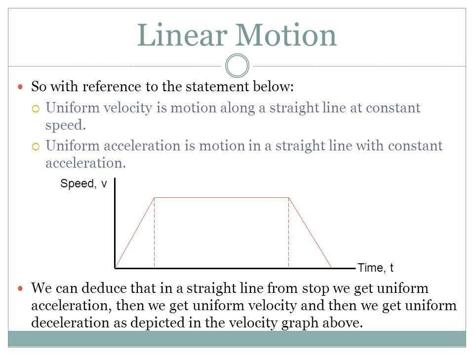 Linear Motion So with reference to the statement below: