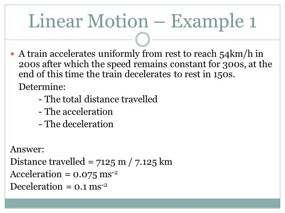 Linear Motion – Example 1