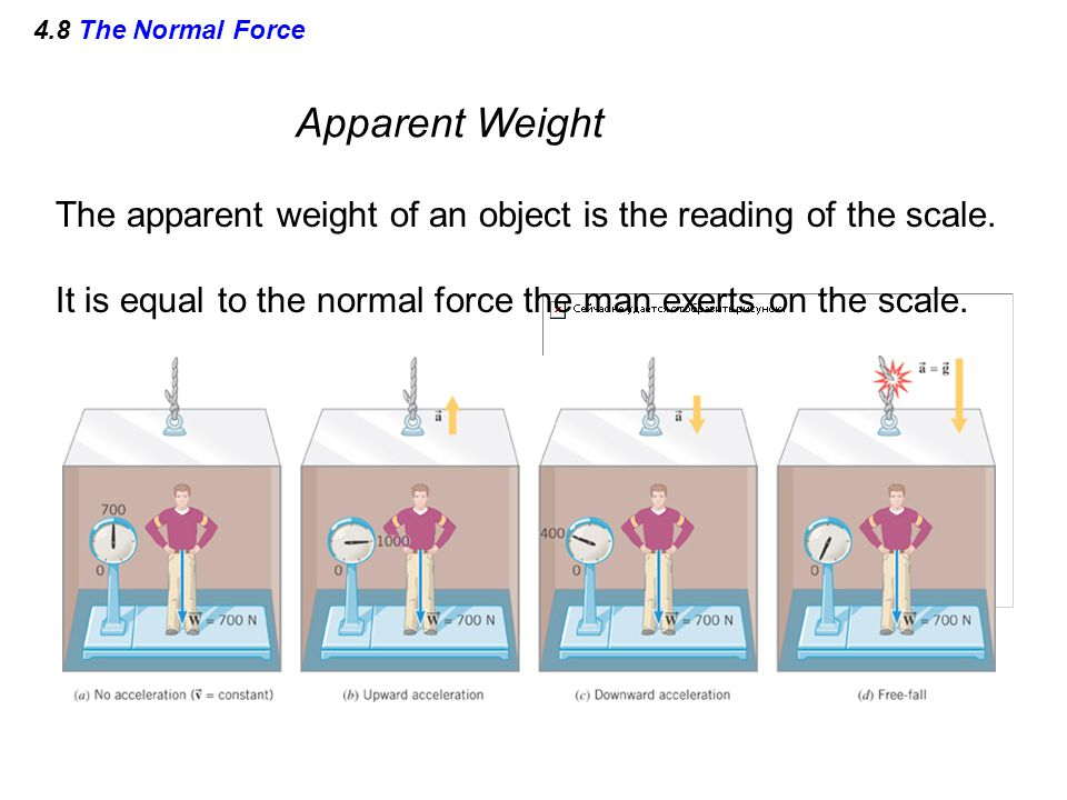4.8 The Normal Force Apparent Weight. The apparent weight of an object is the reading of the scale.