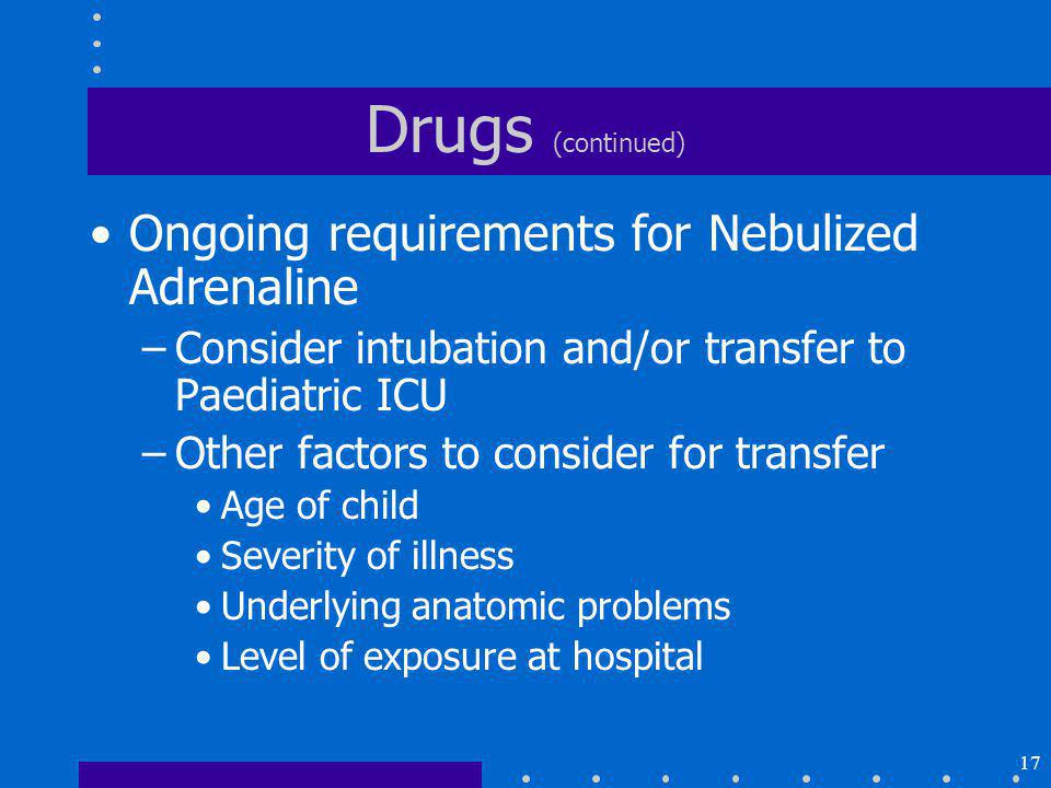 Drugs (continued) Ongoing requirements for Nebulized Adrenaline