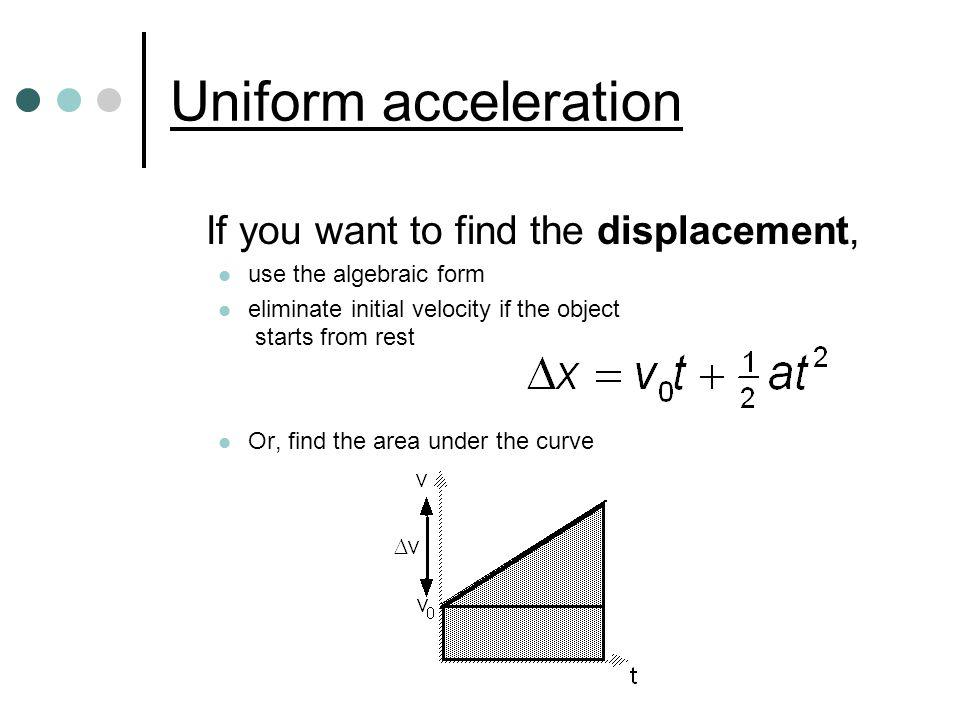 Uniform acceleration If you want to find the displacement,