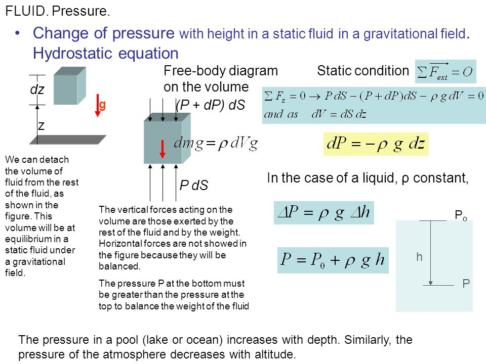 FLUID. Pressure. Change of pressure with height in a static fluid in a gravitational field. Hydrostatic equation.