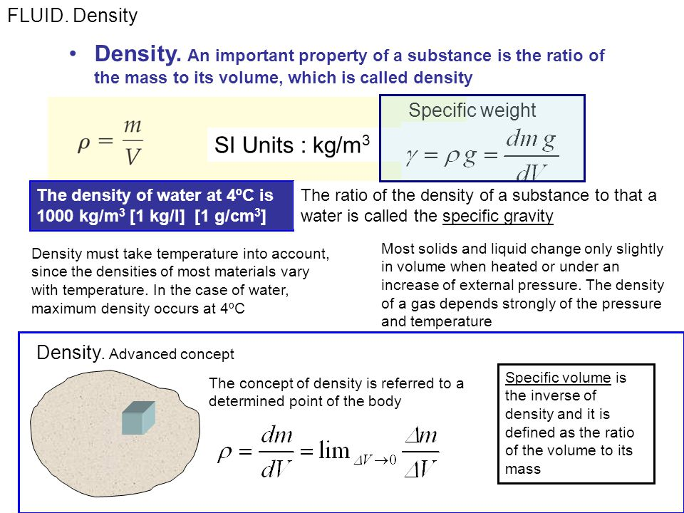 FLUID. Density Density. An important property of a substance is the ratio of the mass to its volume, which is called density.