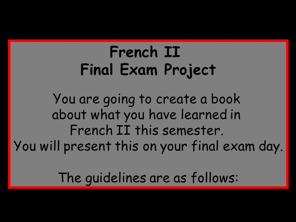 French II Final Exam Project