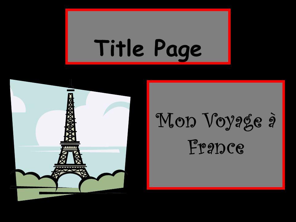 Title Page Mon Voyage à France