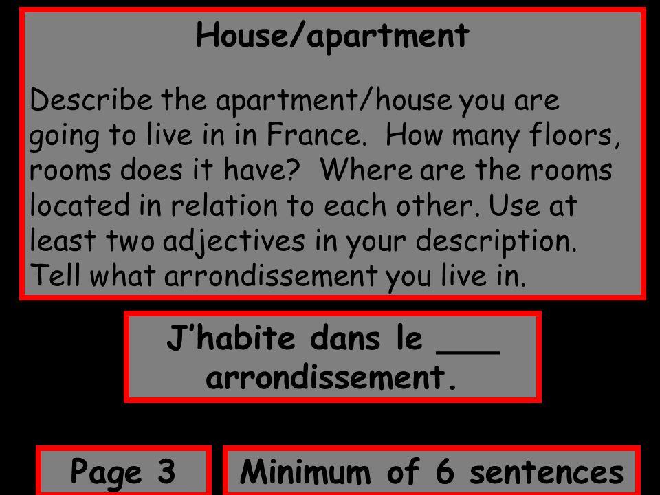 J'habite dans le ___ arrondissement.