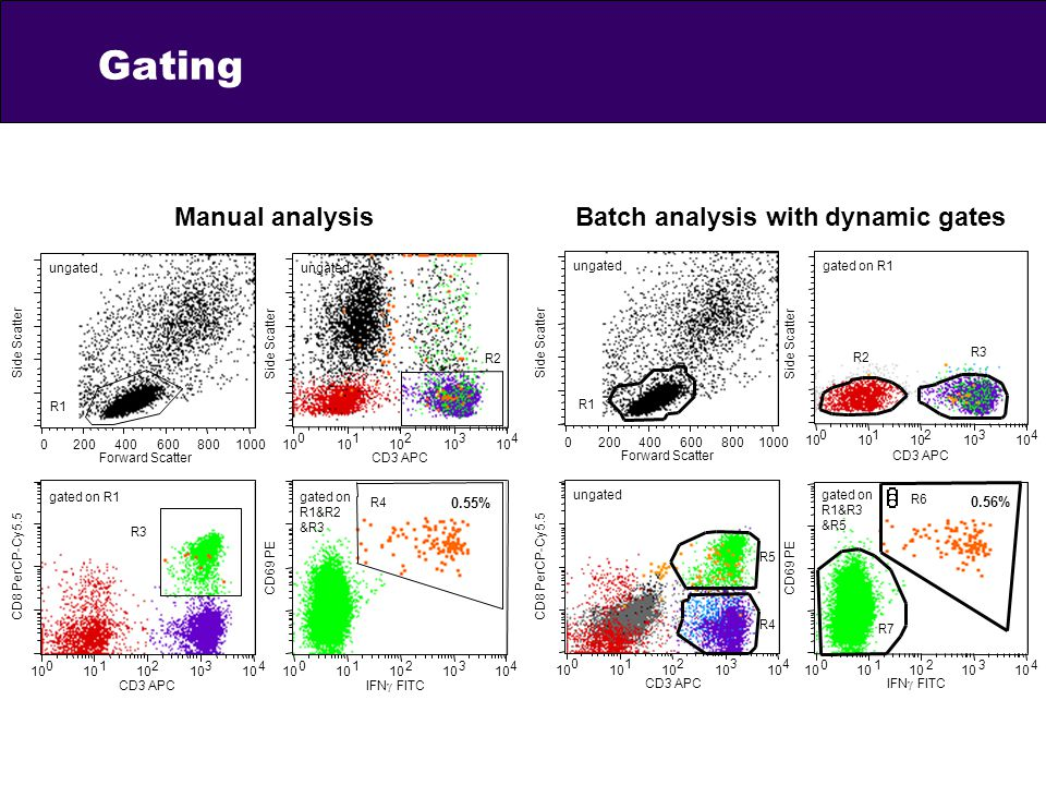 Gating Manual analysis Batch analysis with dynamic gates 0.55% 0.56%
