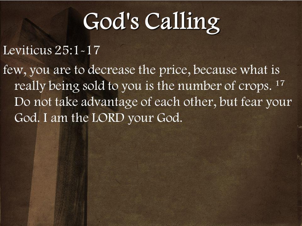 God s Calling Leviticus 25:1-17