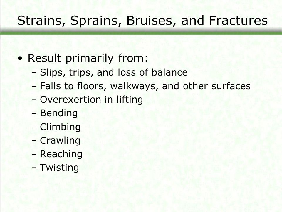 Strains, Sprains, Bruises, and Fractures