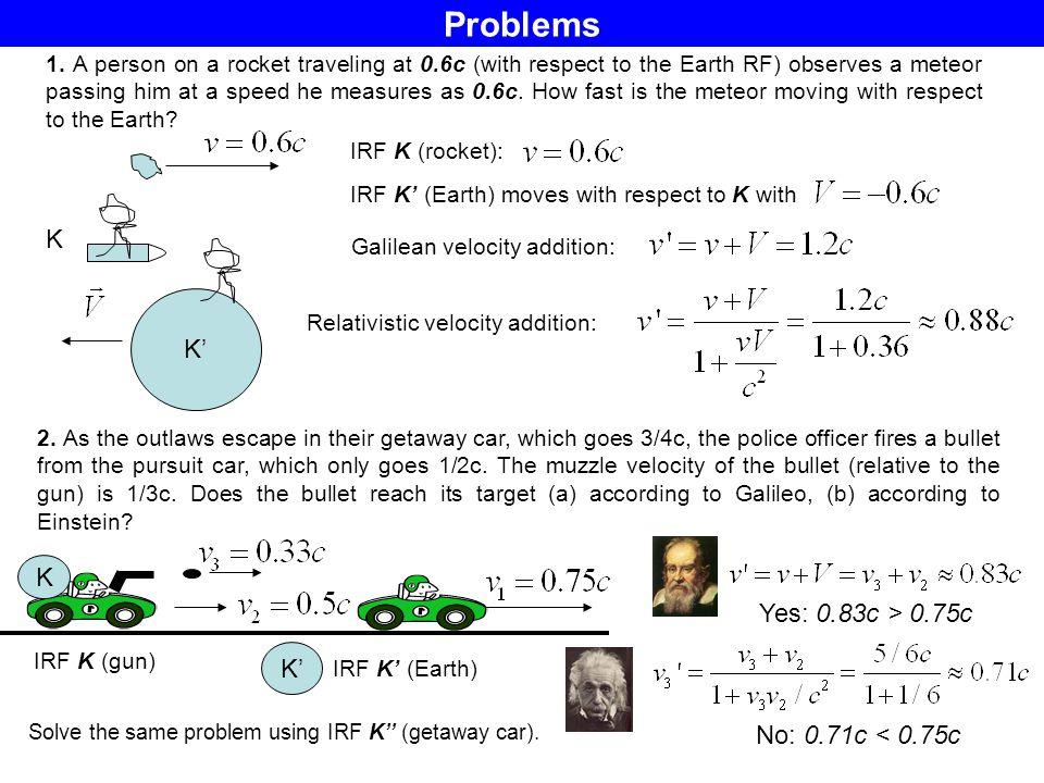 Problems K K' K Yes: 0.83c > 0.75c K' No: 0.71c < 0.75c
