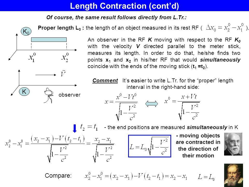 Length Contraction (cont'd)