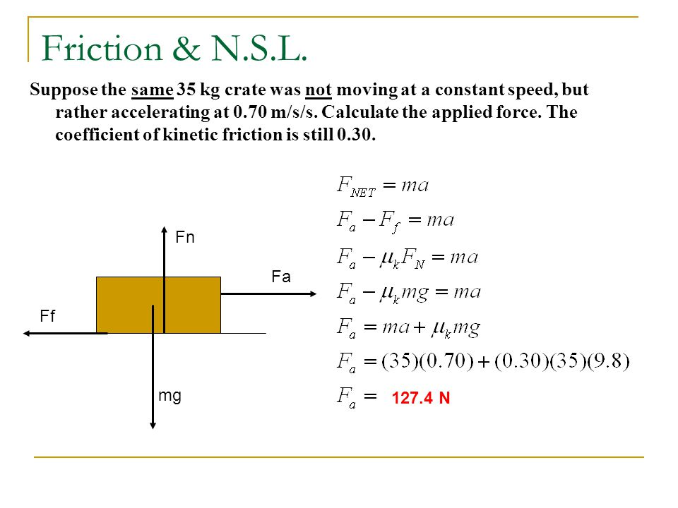 Friction & N.S.L.