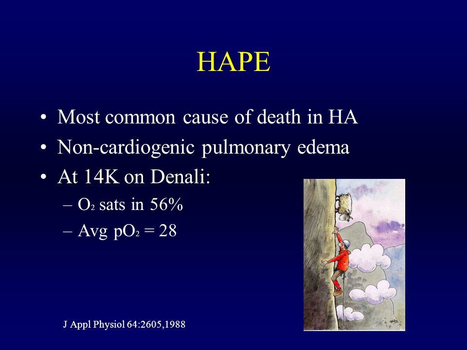 HAPE Most common cause of death in HA Non-cardiogenic pulmonary edema