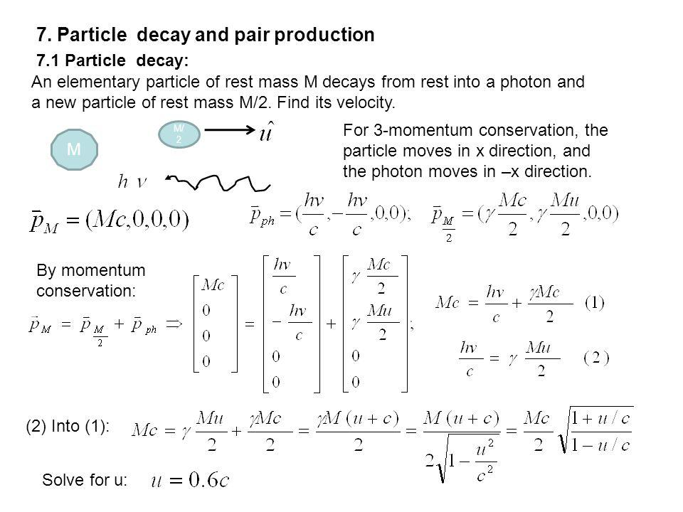 7. Particle decay and pair production