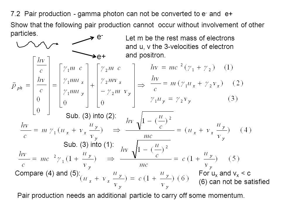 7.2 Pair production - gamma photon can not be converted to e- and e+