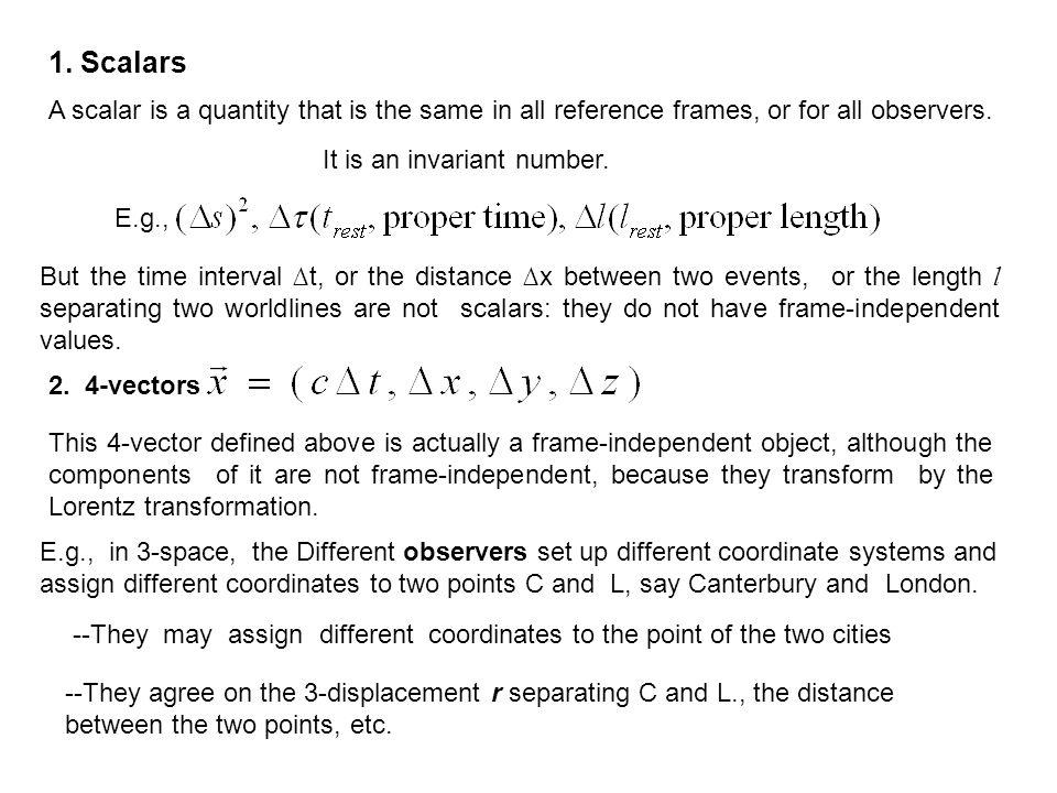 1. Scalars A scalar is a quantity that is the same in all reference frames, or for all observers. It is an invariant number.