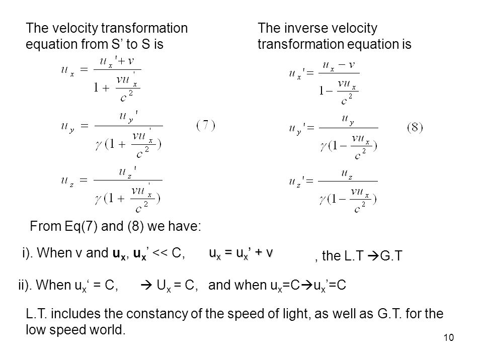 The velocity transformation equation from S' to S is