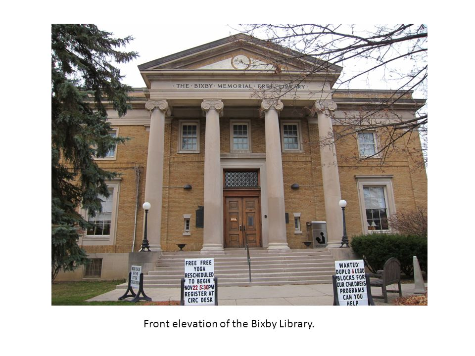 Front elevation of the Bixby Library.