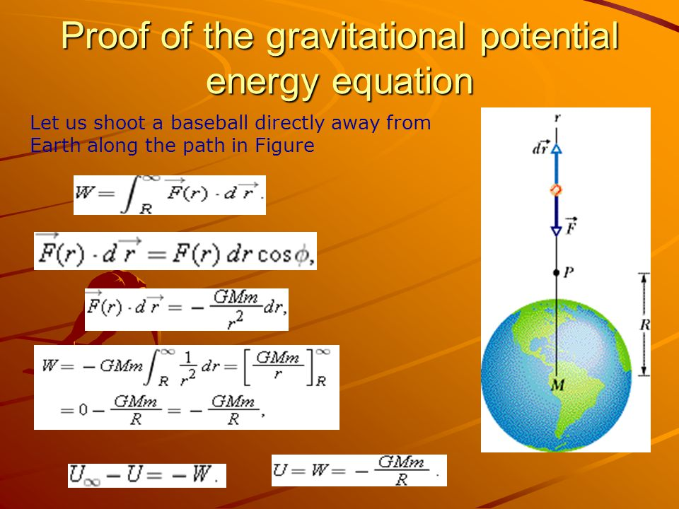 Proof of the gravitational potential energy equation