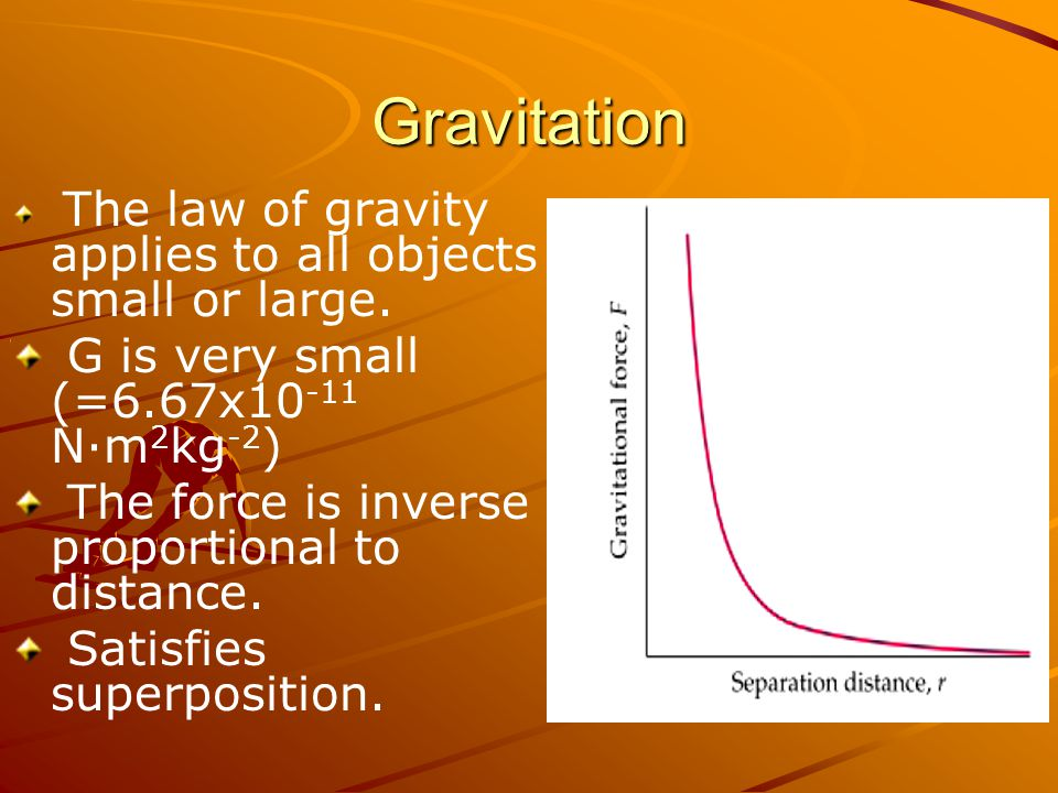 Gravitation G is very small (=6.67x10-11 N·m2kg-2)