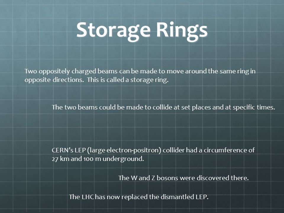 Storage Rings Two oppositely charged beams can be made to move around the same ring in opposite directions. This is called a storage ring.