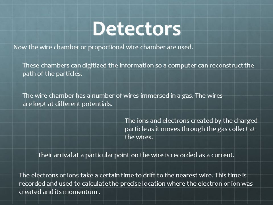 Detectors Now the wire chamber or proportional wire chamber are used.