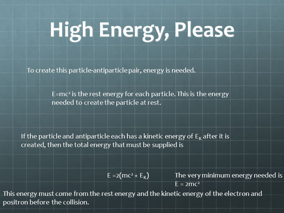 High Energy, Please To create this particle-antiparticle pair, energy is needed.