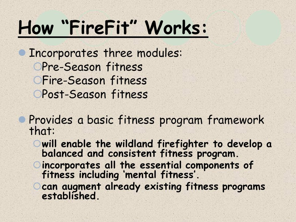 How FireFit Works: Incorporates three modules: Pre-Season fitness