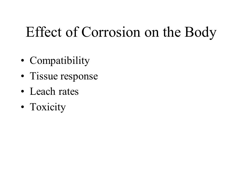 Effect of Corrosion on the Body