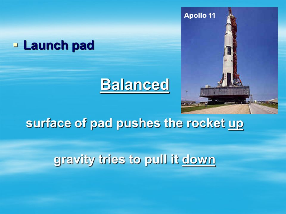 surface of pad pushes the rocket up gravity tries to pull it down
