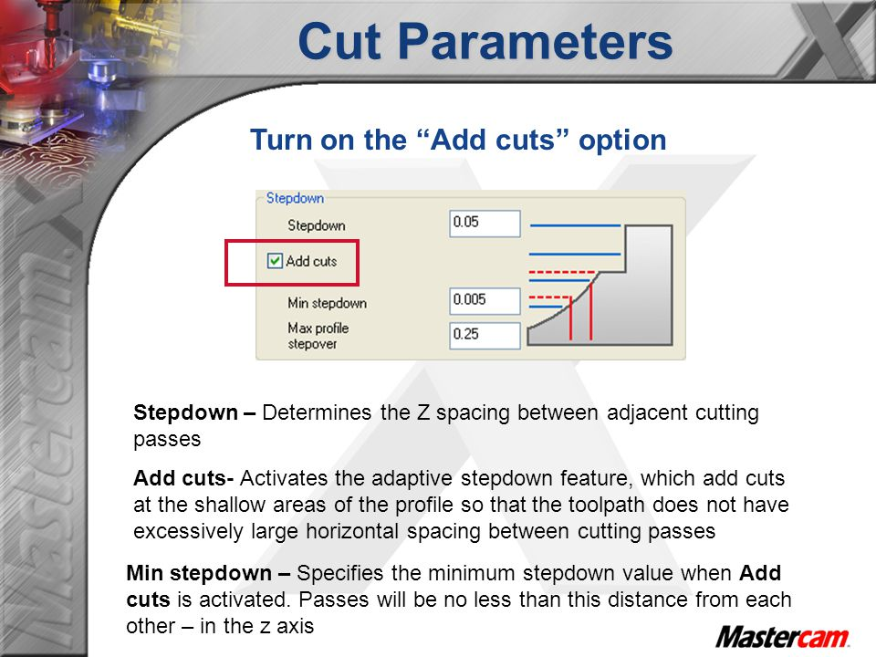 Cut Parameters Turn on the Add cuts option