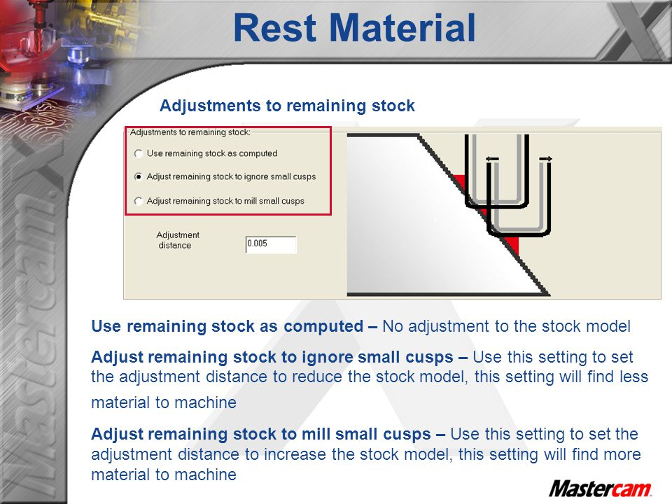 Rest Material Adjustments to remaining stock