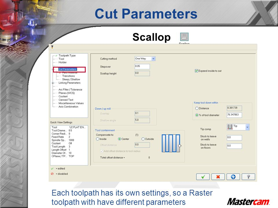 Cut Parameters Scallop