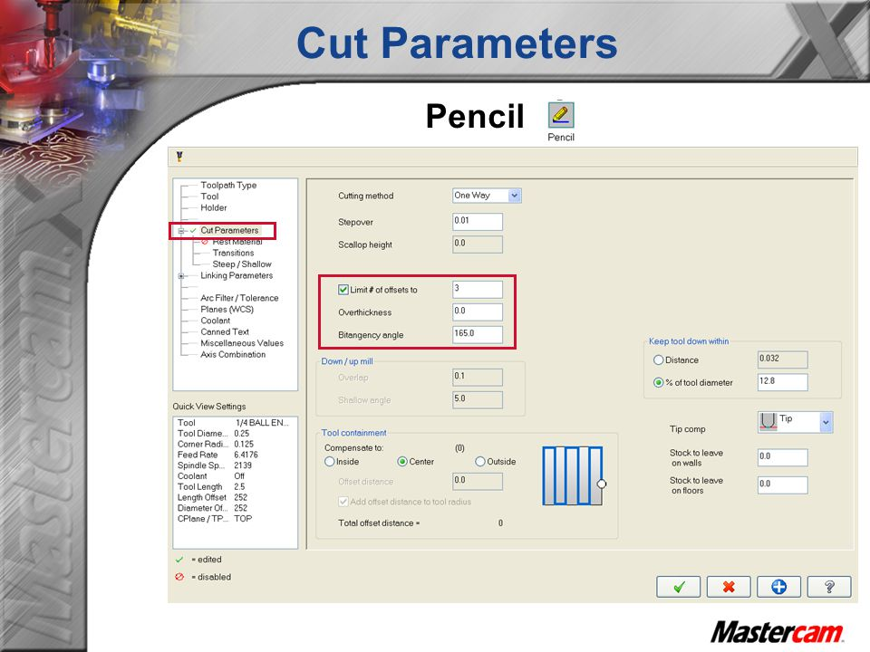 Cut Parameters Pencil