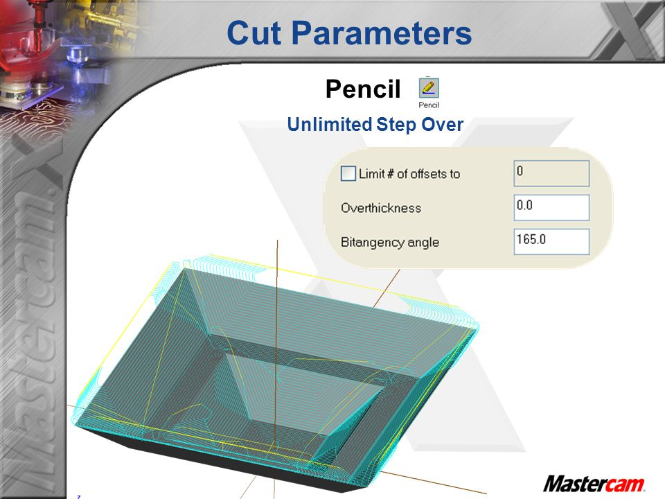 Cut Parameters Pencil Unlimited Step Over