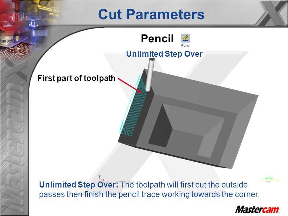 Cut Parameters Pencil Unlimited Step Over First part of toolpath