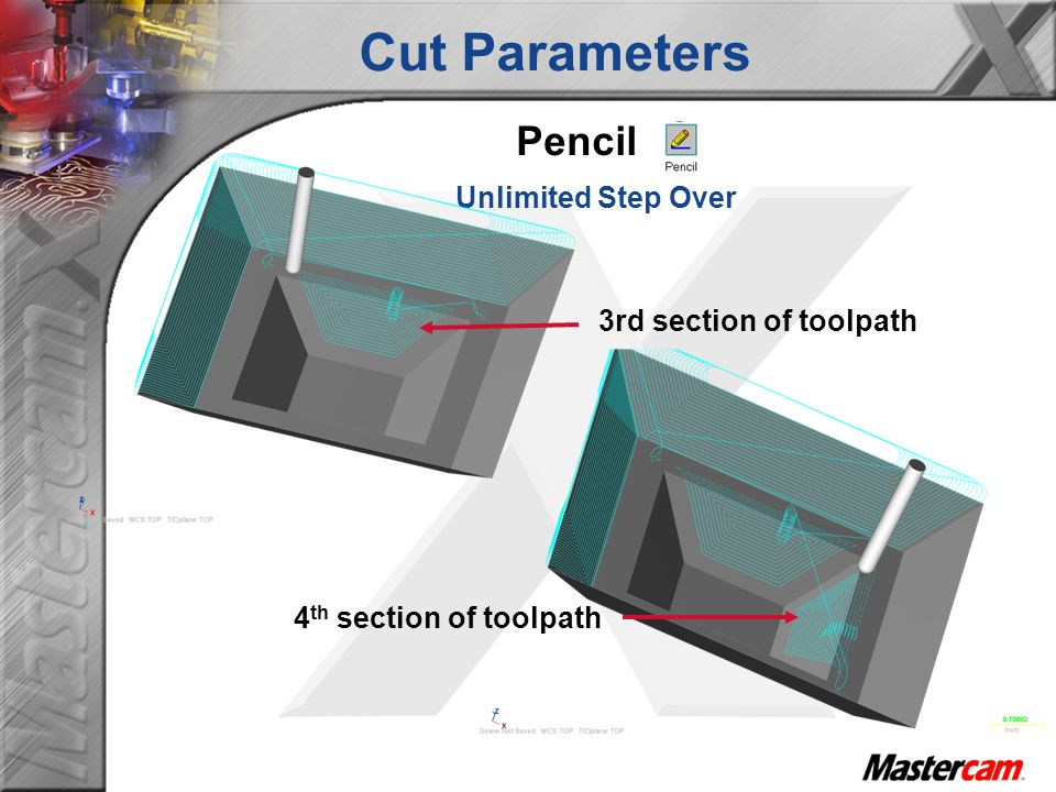 Cut Parameters Pencil Unlimited Step Over 3rd section of toolpath