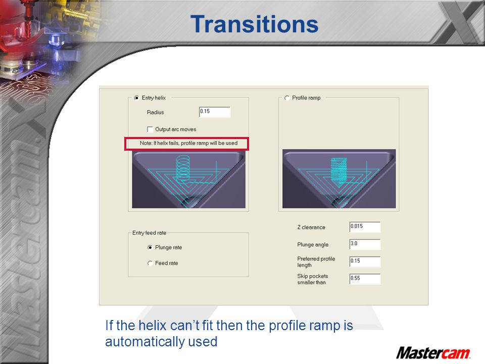 Transitions If the helix can't fit then the profile ramp is automatically used