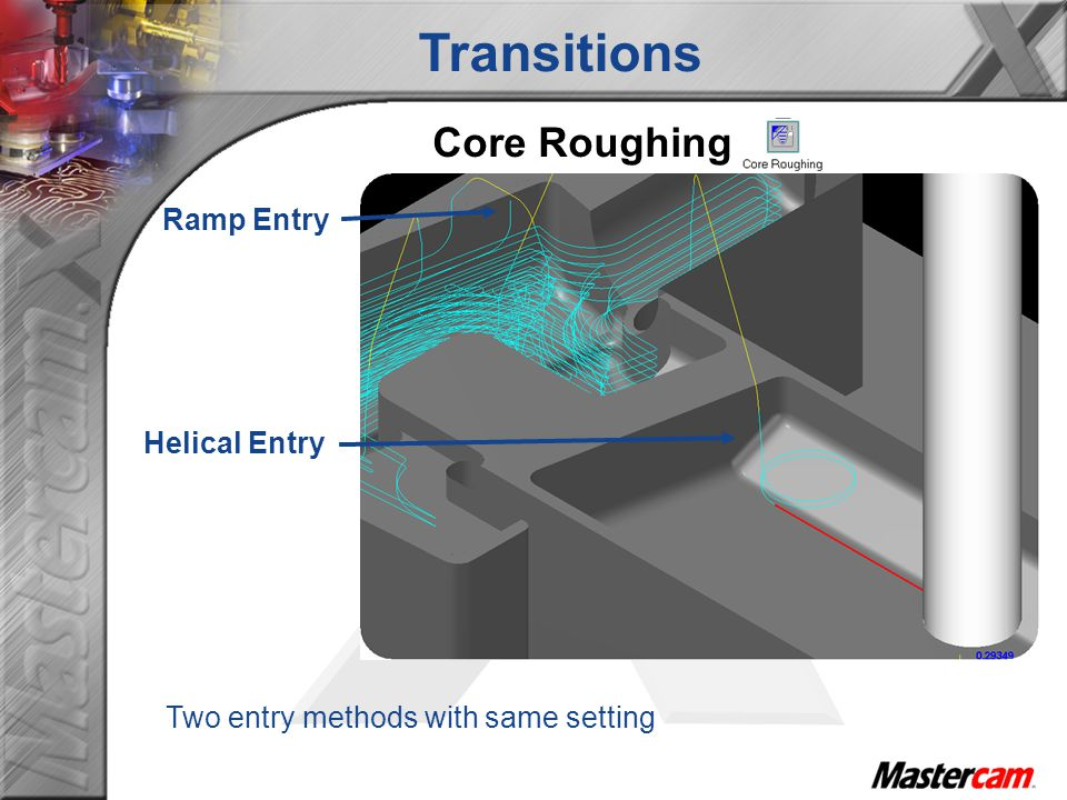 Transitions Core Roughing Ramp Entry Helical Entry