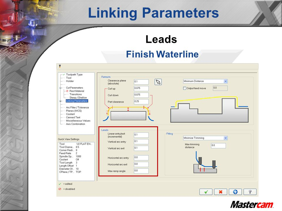 Linking Parameters Leads Finish Waterline