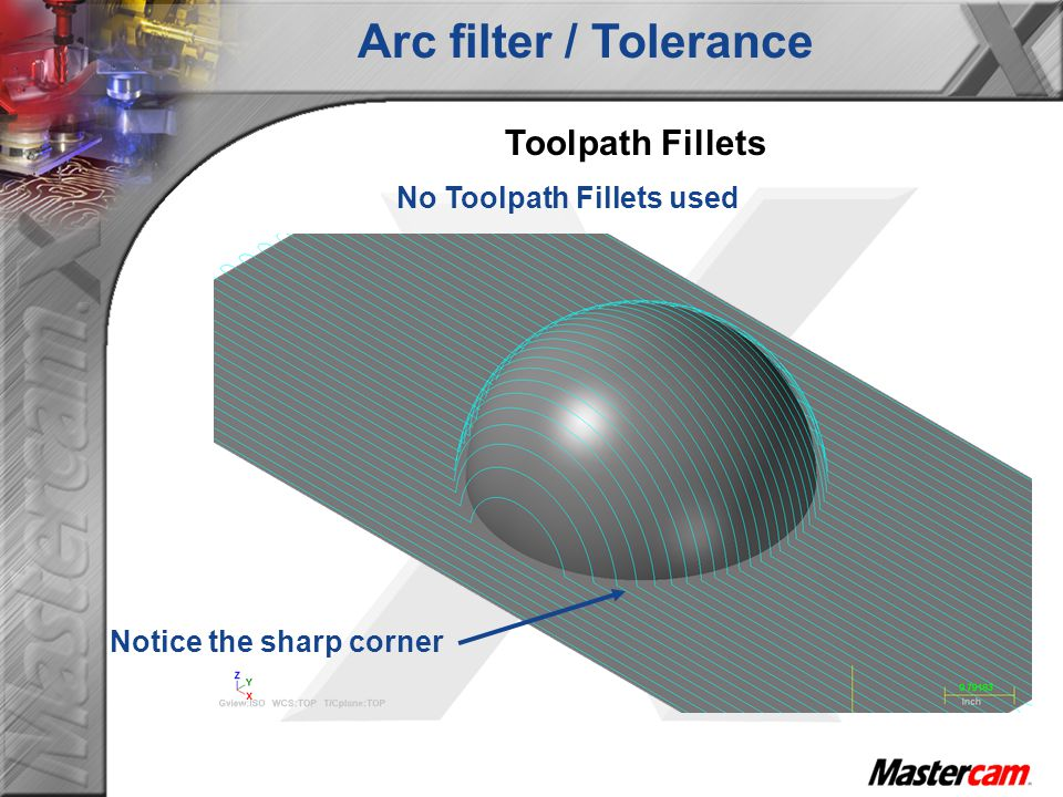 No Toolpath Fillets used