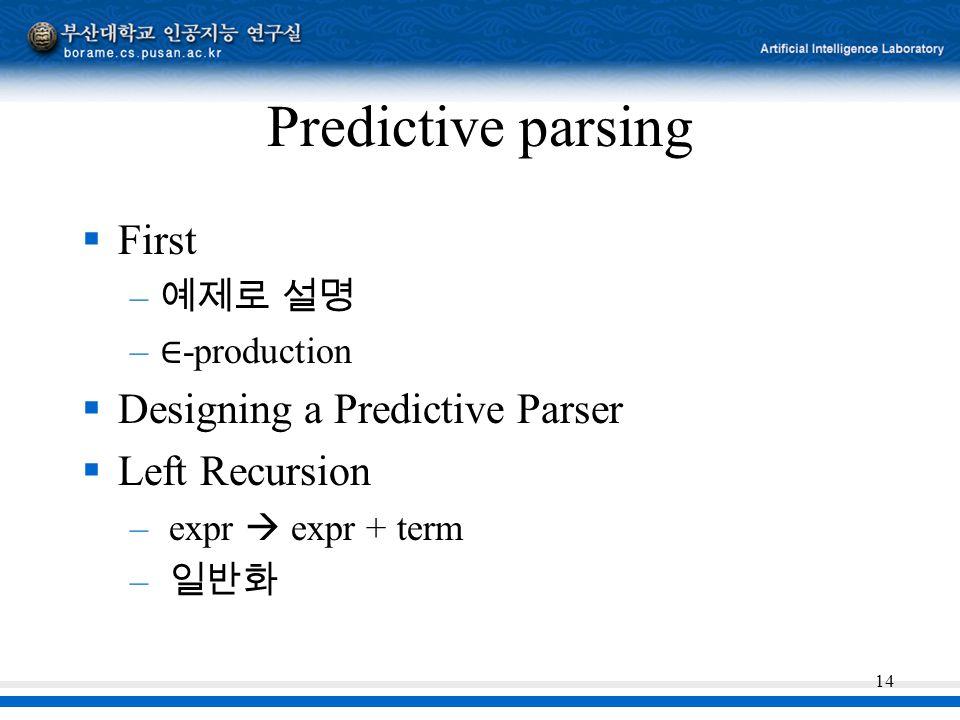 Predictive parsing First Designing a Predictive Parser Left Recursion
