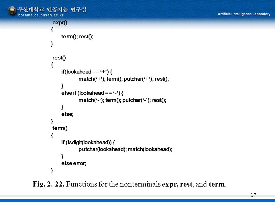 Fig. 2. 22. Functions for the nonterminals expr, rest, and term.