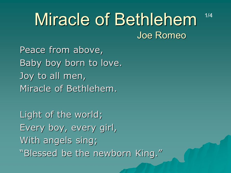 Miracle of Bethlehem Joe Romeo