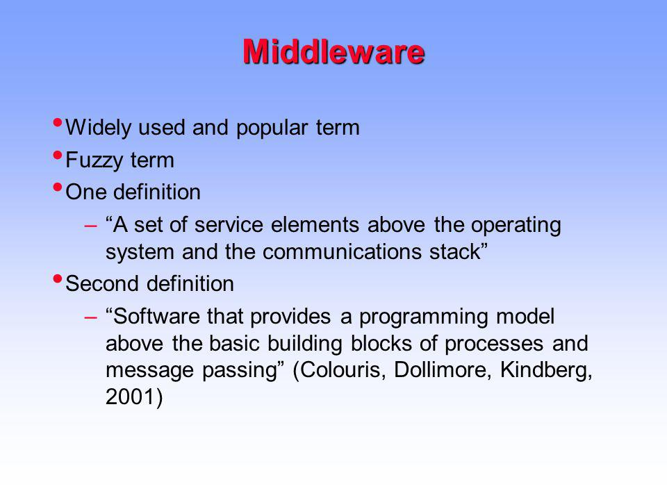 Middleware Widely used and popular term Fuzzy term One definition