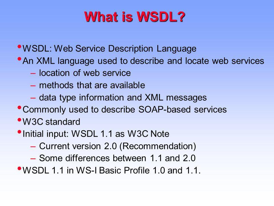What is WSDL WSDL: Web Service Description Language