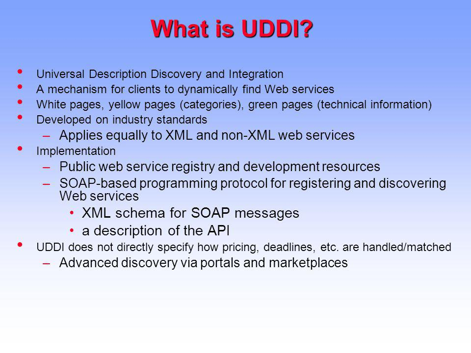 What is UDDI XML schema for SOAP messages a description of the API